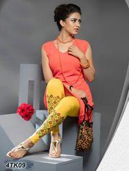 Yellow Color Ladies Cotton Leggings