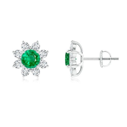 Round Emerald Flower Stud Earrings