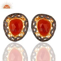 Pave Diamond Carnelian Gemstone Earrings