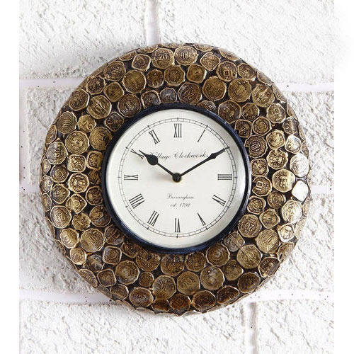 Metallic currency coin designer wall clock