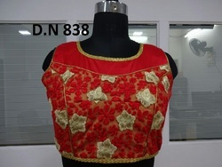 Red Taffeta Silk Net Embroidered Stitched Blouse