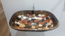 Prayosha Rectangle Brown Ring Washbasin