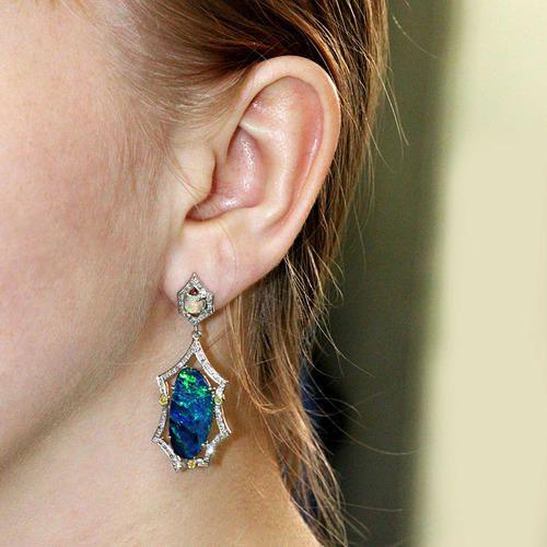 14k White Gold Diamond Opal Earrings