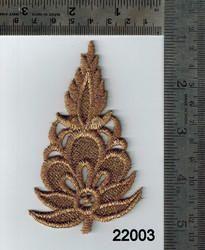 Fancy Flower Pattern Gold Zari Patch