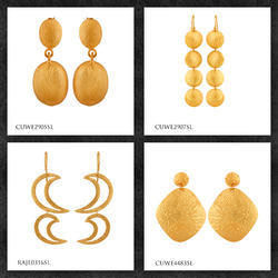 Plain Silver Gold Plated Earrings