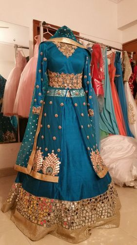 Bluish Green Indo Western Dress For Wedding Or Engagement Indo