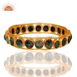 Emerald Gemstone Brass Bangle