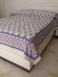 Kantha Work Hand Block Printed Bed Cover