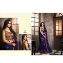Dark Blue Matka Silk Designer Saree