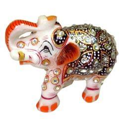 Marble Painted Elephant Statue
