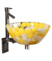 Yellow Resin Wash Basin Set