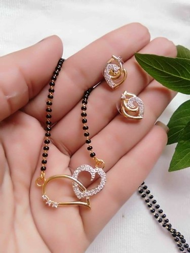 Daily Wear Gold A D Heart Mangalsutra With Earrings For Women Rs 100 Piece Id 18803854691,Mountain Home Designs