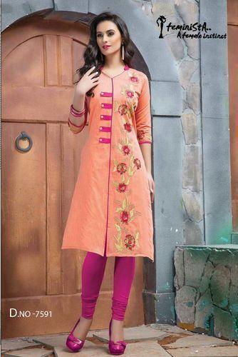 Pure Chanderi with Cotton Inner Designer Kurti