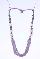 Semi Precious Stones Necklace with Pottery Beads