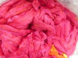 Solid Coloured Sari Silk Tops In Pink Colours For Spinning