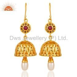 Gold Plated Diamond Traditional Earrings