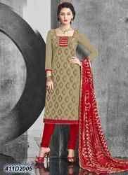 Designer Red and Beige Churidar Suit