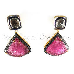 Rubylite Engraved  Diamond Earring
