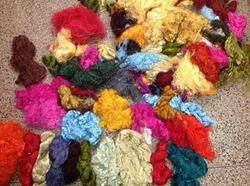 Multicolored Sari Silk Thrums For Spinners, Weavers