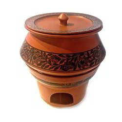 Ceramic Handi Chafing Dish Floral Design Terracotta Colour