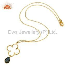 Gold Plated Gemstone Silver Pendant
