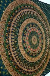 Blue Cotton Mandala Bed Cover In Traditional Jaipur Color