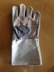 half leather half denim glove