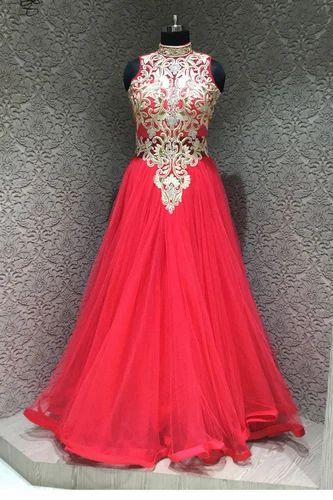 Ladies Gown Ravishing Red Net Designer Readymade Gown Exporter