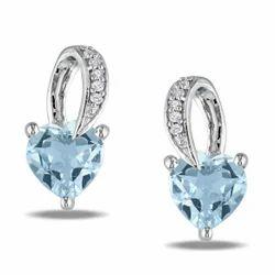 Aquamarine Stone Diamond Earrings
