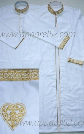 Embroidery Kurta Saya Set For Nikah Wedding Golden Embroidery Men