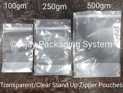 Transparent Zipper Stand Up Pouches-100gm