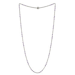 amethyst beads long chain matinee necklace