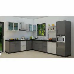 L Shaped MDF Modular Kitchen