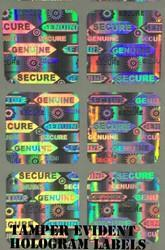 Warranty Void Unique Number Hologram Labels Stickers