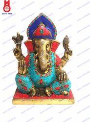 Lord Ganesha On Sq.Base V Shape Ring Statue