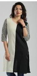 Black N White Kurta With Screen Print On Sleeves