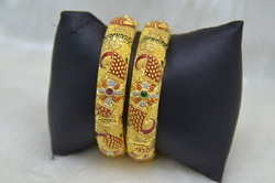 1 Gram 24ct Gold Plated 2pc Fancy Bangles