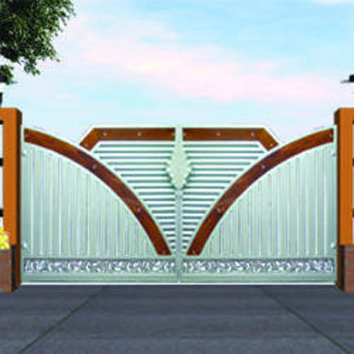 Stainless steel main gate with aluminium wood color design for Modern gate designs wood and steel