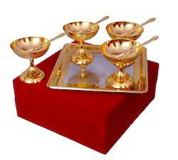 VESPL Silver Gold Plated Ice Cream Set With Box