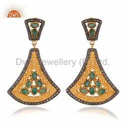 Pave Diamond Silver Earrings