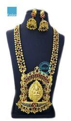 Traditional South Indian Long Kemp Temple Necklace Set