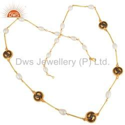 Natural Pearl Gemstone Diamond Chain Necklace