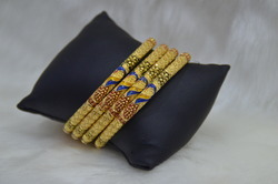 1 Gram 24ct Gold Plated 4pc Fancy Bangles