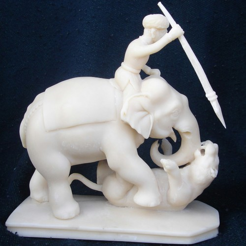Villager And Elephant Hunting Tiger In Resin Elephant_29