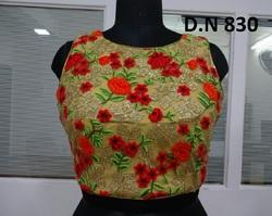Golden Fancy Net Embroidered Stitched Blouse