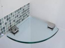 Corner Shelves With Frosted Glass