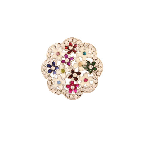 Multicored Floral Enamel Brooch Pin