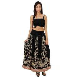 Golden Print Girls Skirt