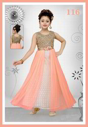 Beautiful Stone Work Net Gown For Kids