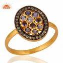 Pave Diamond And Iolite Gemstone Ring